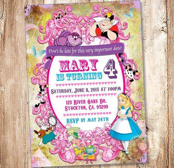 Alice In Wonderland Birthday Invitation Digital File Your Print