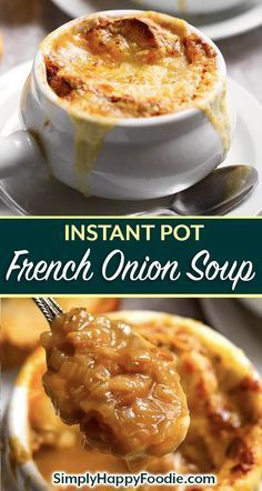 Instant Pot French Onion Soup is so delicious, with caramelized onions and rich,... - -