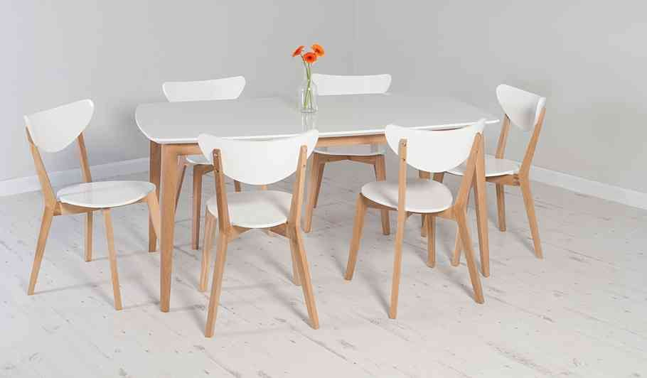 George Home Brooklyn Rectangular Dining Table And 6 Chairs  Oak Fascinating White Dining Room Table And 6 Chairs Design Inspiration