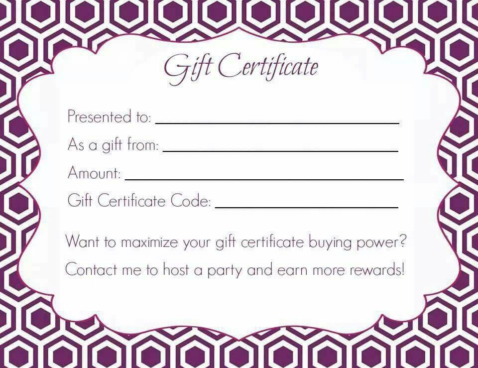 gift certificate print out jamberry signs pinterest jamberry