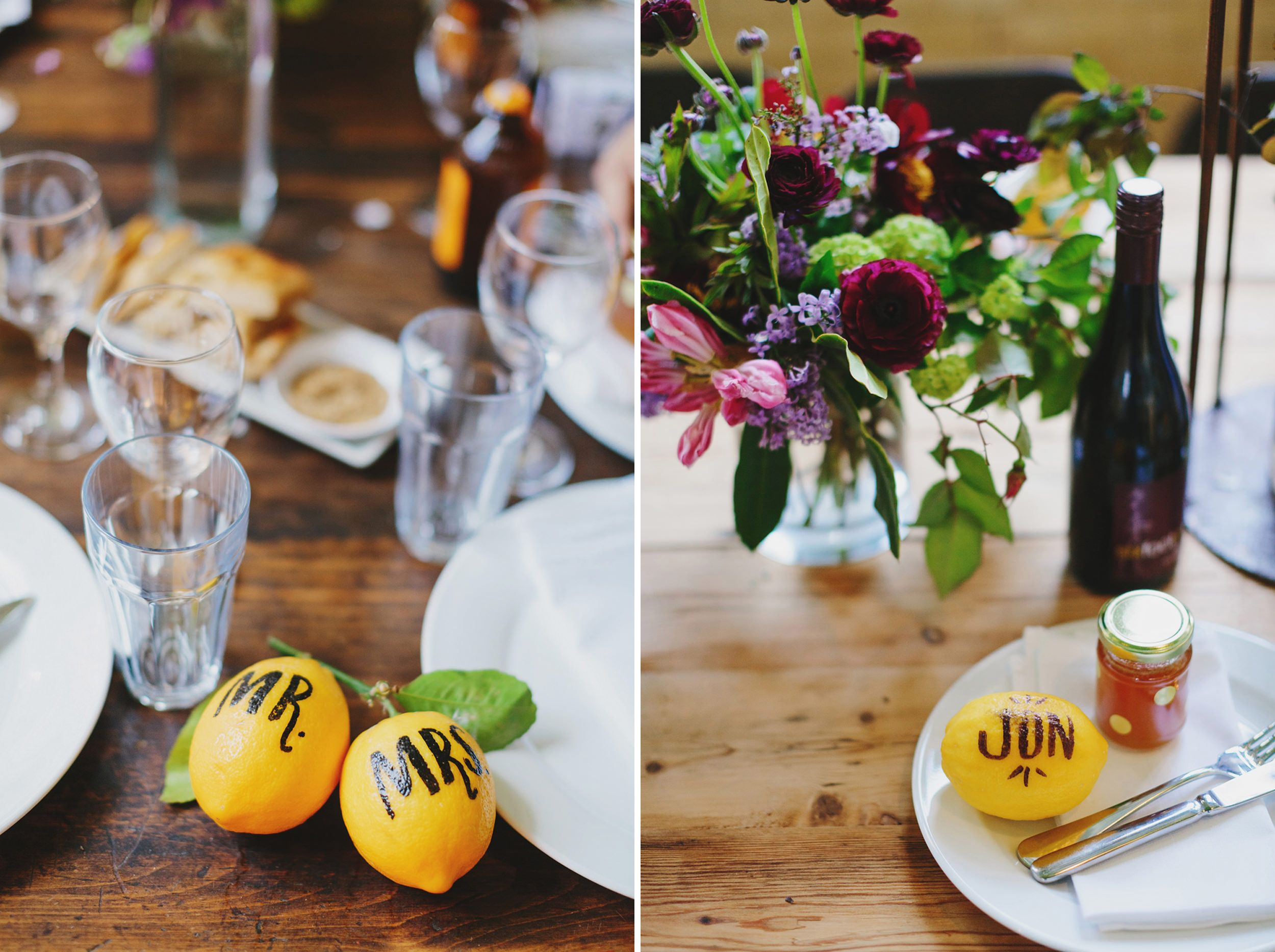 Lemon wedding place cards wedding place cards table