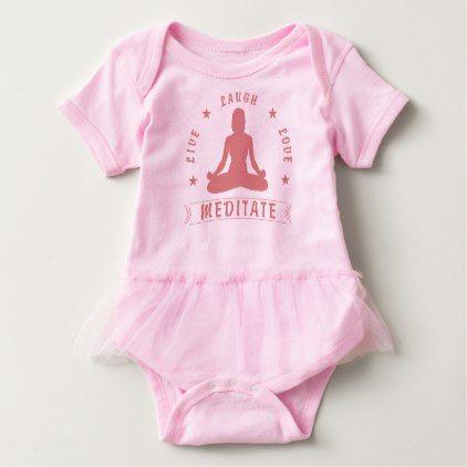 Live Laugh Love Meditate Female Text (pink) Baby Bodysuit - yoga health design namaste mind body spirit