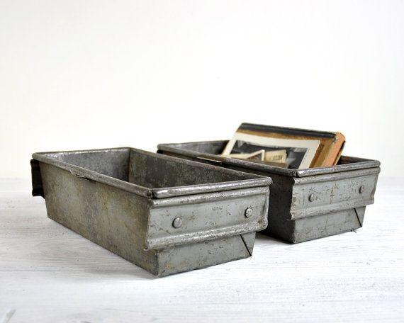 Vintage Metal Bin Storage Bins Metal Basket Rustic By Havenvintage Metal Storage Bins Storage Bins Industrial Decor