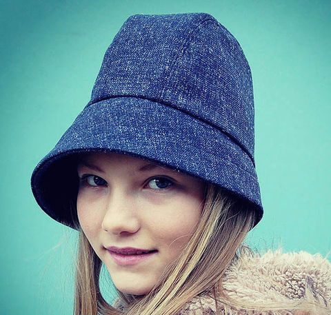 Handmade Asymmetric Tall Cloche In Vintage French Blue Tweed Zutangelique Winter Hats For Women Hats Hat Fashion