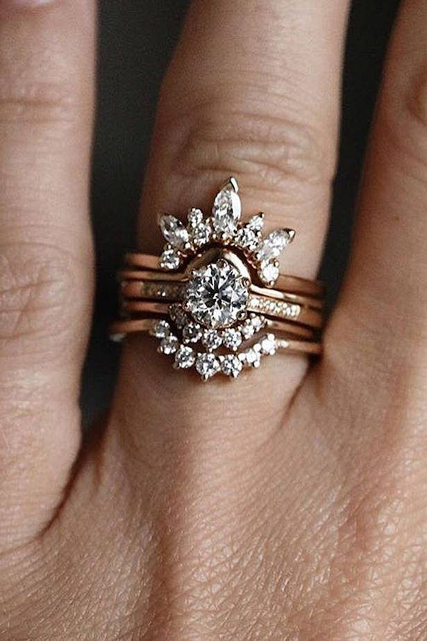 Diamond Engagement Ring Rose Gold Floral Diamond Ring Wedding Set Modern Rose Gold Rose Engagement Ring Unique Engagement Rings Diamond Wedding Rings Sets