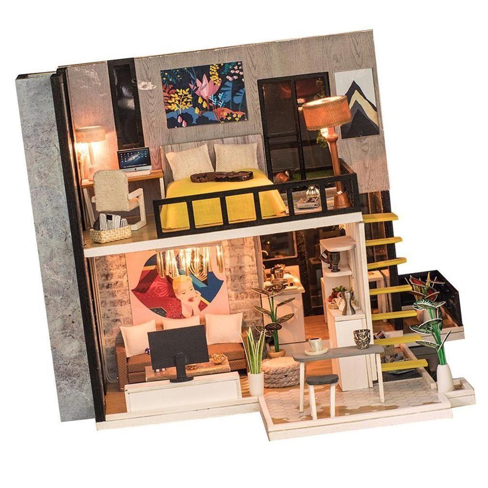 124 DIY Miniature Dollhouse Doll House Furniture Kits