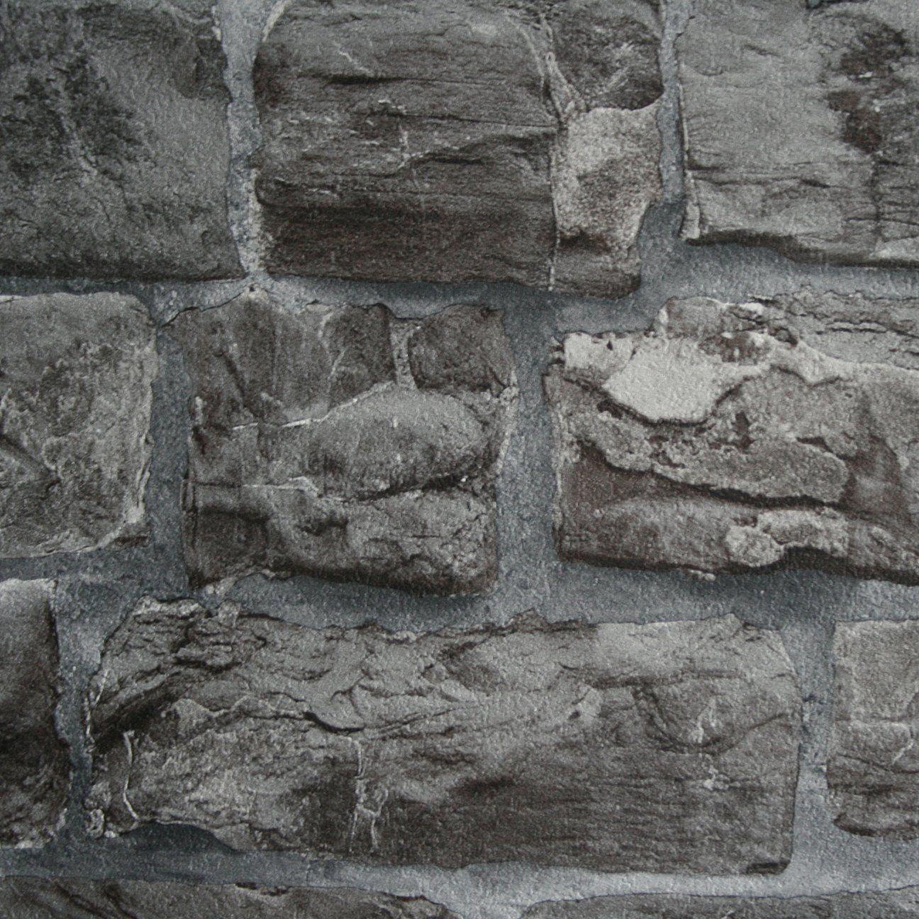 Reclaimed Stone BrickWallpaper in Grey /& Stone