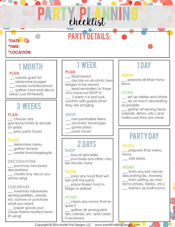Easy party planning checklist party planning checklist for Event planning ideas parties