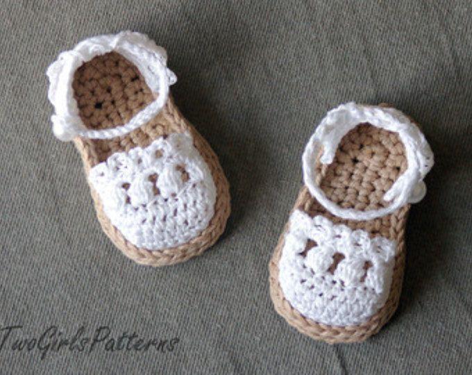 Crochet Pattern Baby Espadrille, Baby Sandals , Baby booties ...