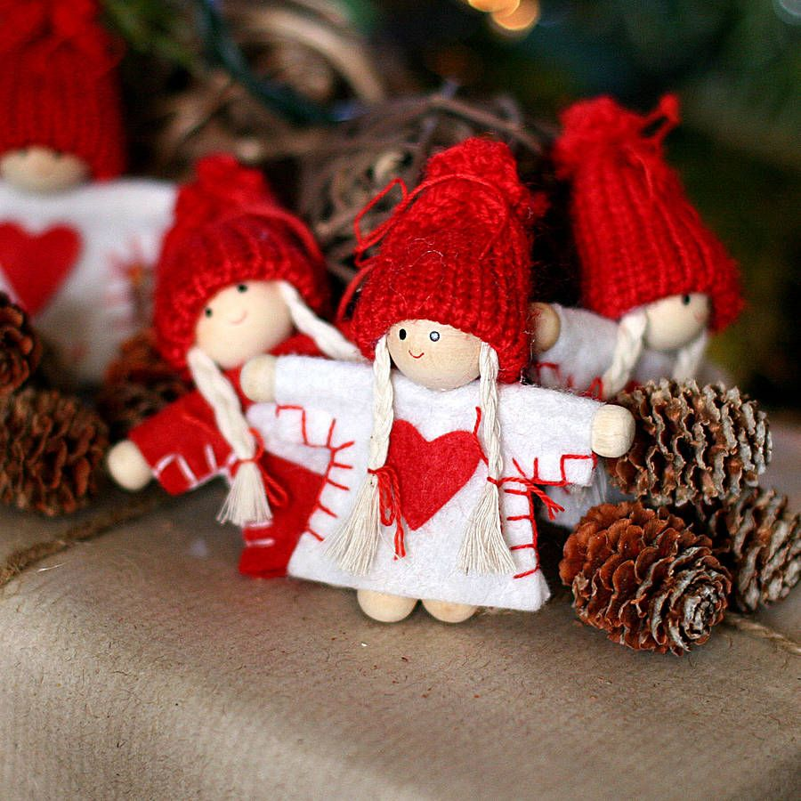 Scandinavian Christmas Doll Decorations By Pippins Gifts And