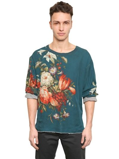 DOLCE & GABBANA - FLORAL SILK AND WOOL JERSEY T-SHIRT - LUISAVIAROMA - LUXURY SHOPPING WORLDWIDE SHIPPING - FLORENCE