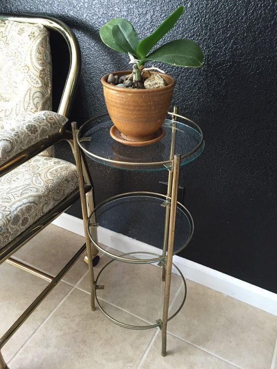 Vintage Gold Plant Stand Mid Century Modern Faux Brass And