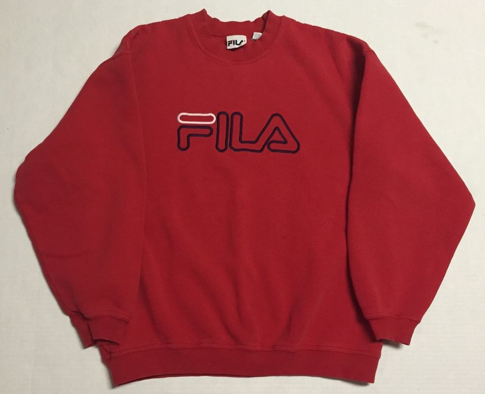 Vtg Fila Crewneck Sweater Mens Medium 90s Solid Red Made in Canada ...
