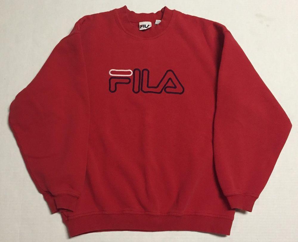 Vtg Fila Crewneck Sweater Mens Medium 90s Solid Red Made in Canada ...