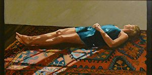 Woman Resting in the Sun by artist Helen Vaughn. Oil painting found on the FASO Daily Art Show -- http://dailyartshow.faso.com