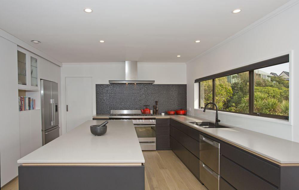 Sally Steer Design Wellington New Zealand Caesarstone Raw Concrete With Oak Negative Detail