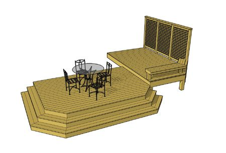 Stylish 2 level deck, privacy wall and built in benches. Clipped ...