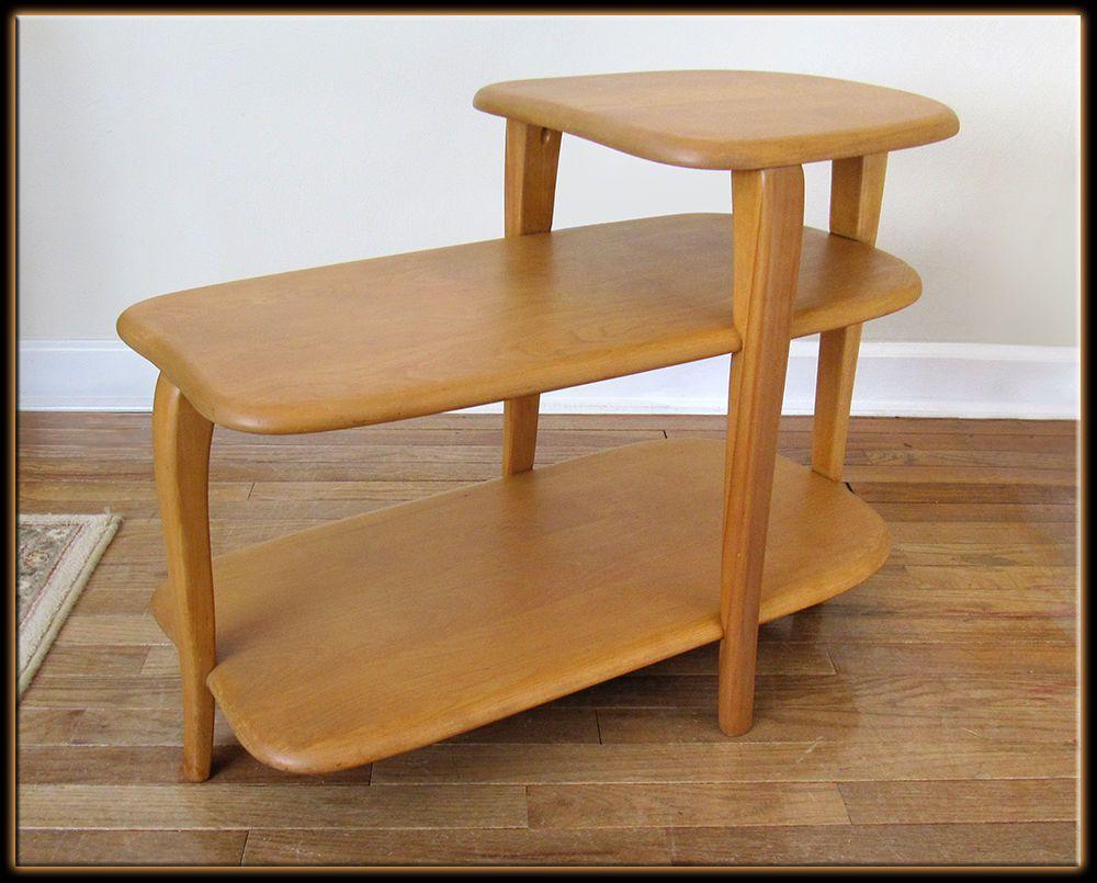 Mid Century Modern Heywood Wakefield M304 3 Tier End Table Vintage Original Round Coffee Table Coffee Table Coffee Table Pictures