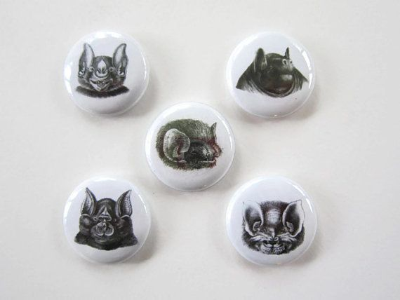 Bat Illustration Halloween Buttons or Halloween Magnets by FoxLaneVintage, $6.00 Spooky Halloween Decorations!