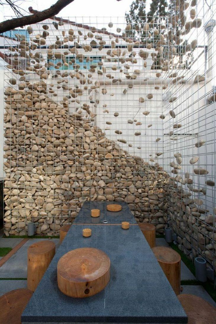 Muros de gaviones para decorar en jardín | Vallas blancas, Valla y ...
