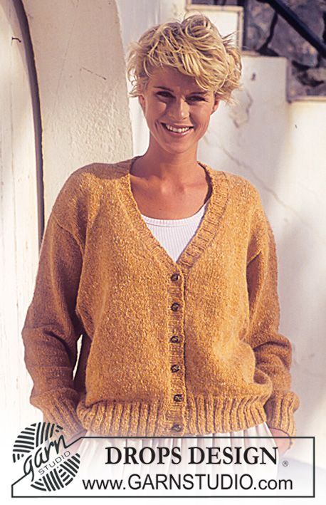 Célèbre DROPS Cardigan in Angora Tweed. Free pattern by DROPS Design  KA69