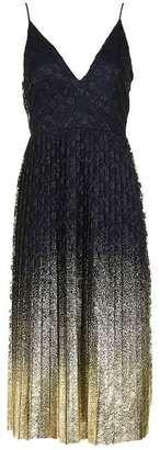 Topshop Foil hem plunge neck midi dress - Shop for women's tops