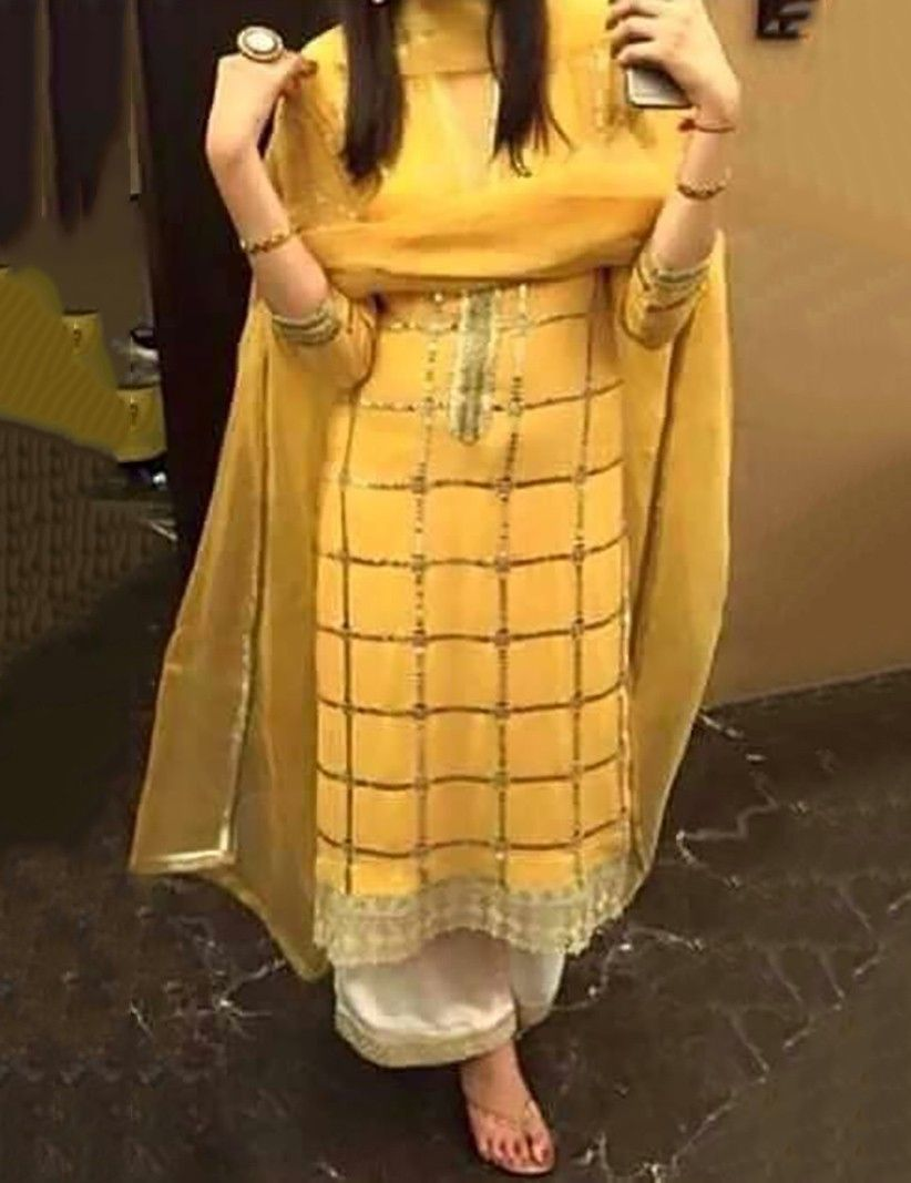 Semi-Stitched Chikan work Designer Salwar Kameez Suit Indian Punjabi Dress