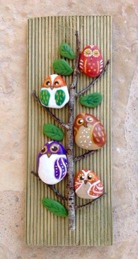 Arbol de buhos piedras pintadas a mano sonia cifuentes - Piedras de rio pintadas ...
