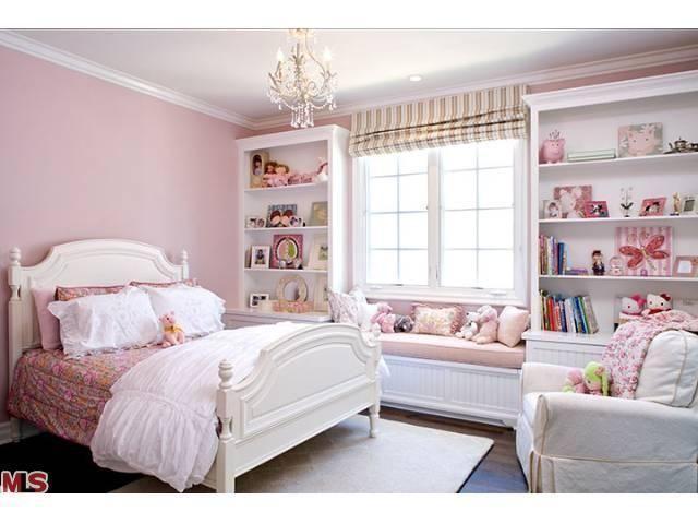 pink + built-ins + window seat | LA Home - girl\'s room | KidsRoom ...