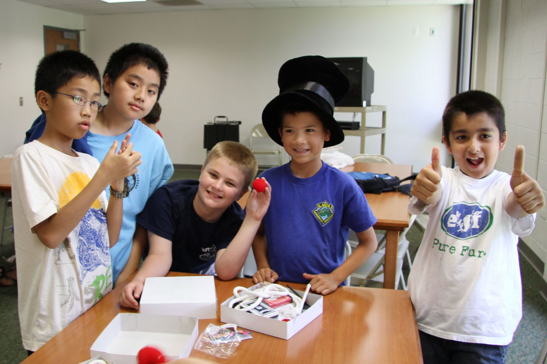Group of campers in a Magic class.