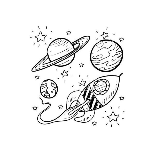 Line Art Universe : Doodle space planets rocket ship stars explore vector
