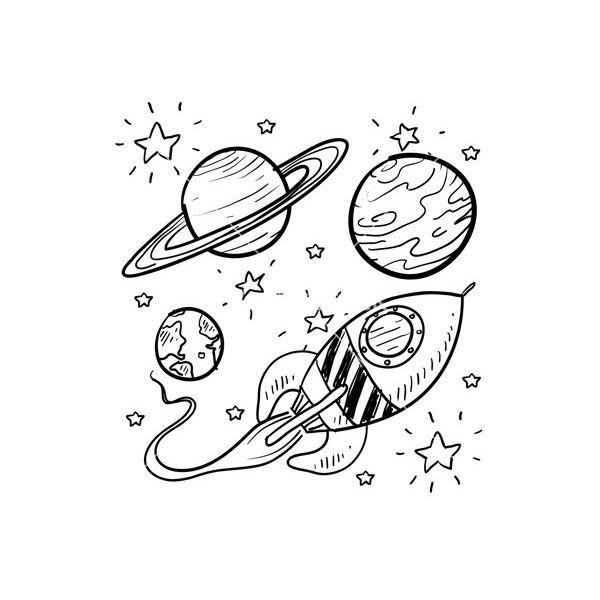 Doodle Space Planets Rocket Ship Stars Explore Vector