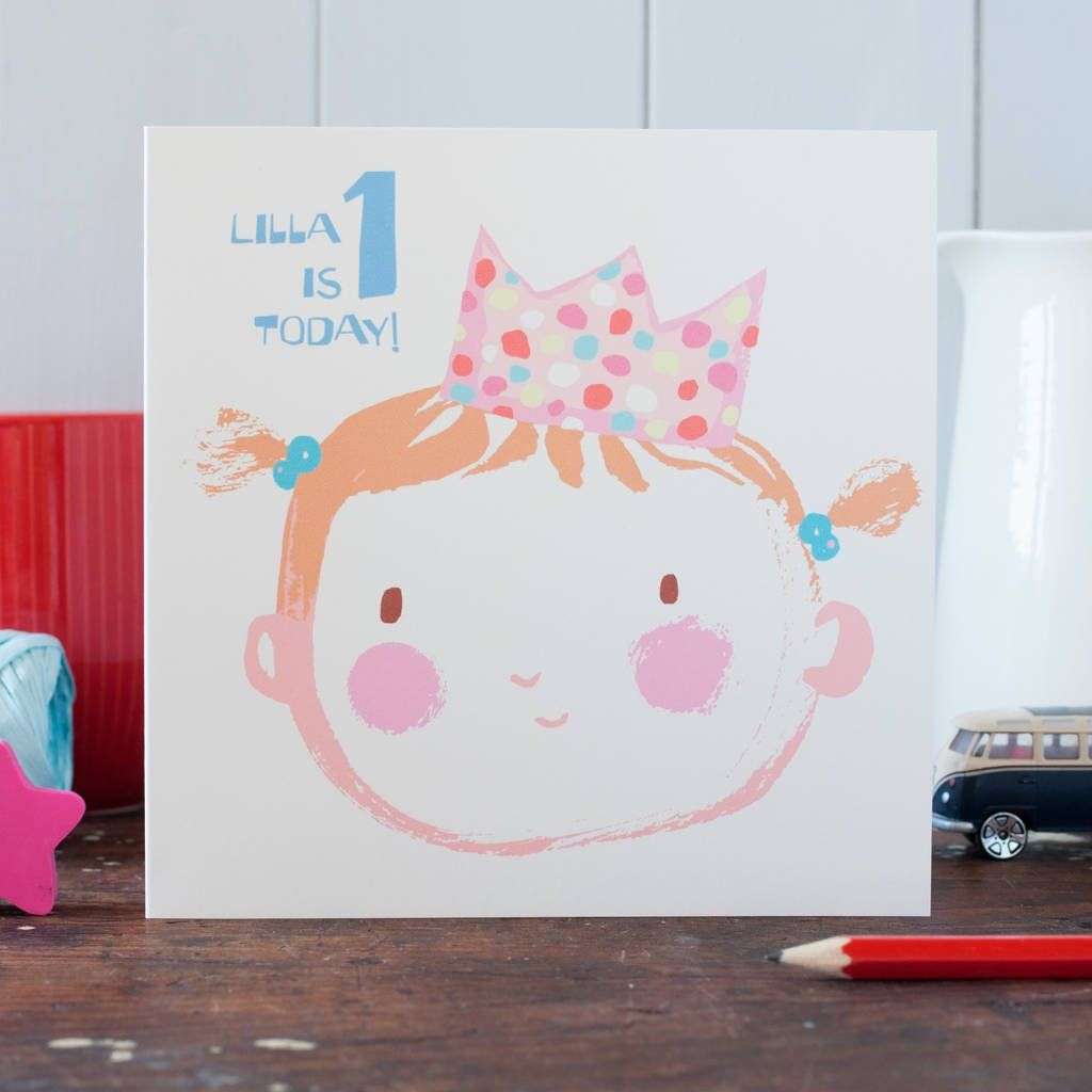 Baby Girl's Personalised First Birthday Card First
