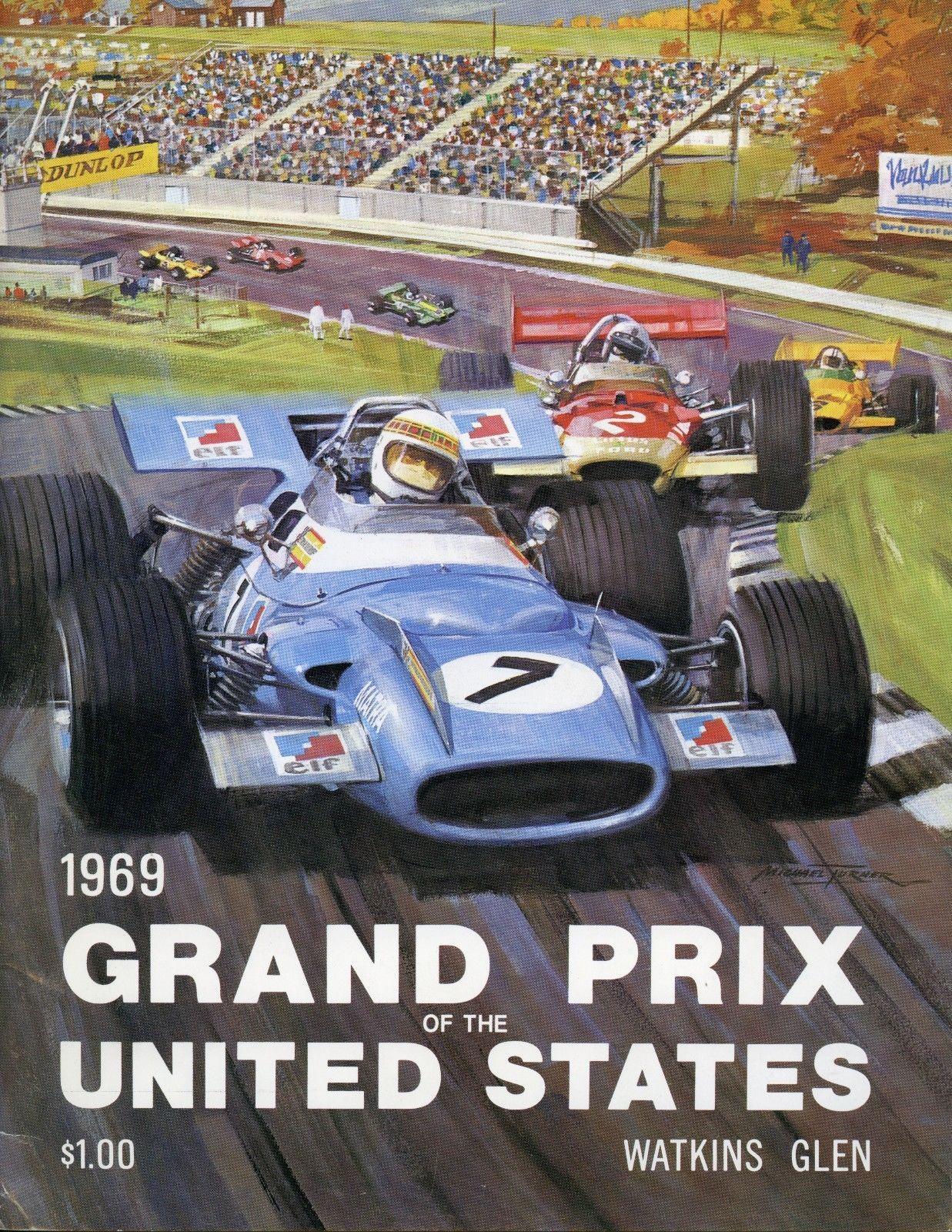 1969 US Grand Prix Watkins Glen Race Program Jochen Rindt Lotus 49 ...