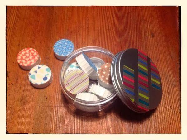 Juegos para los niños con tapones y washi tape