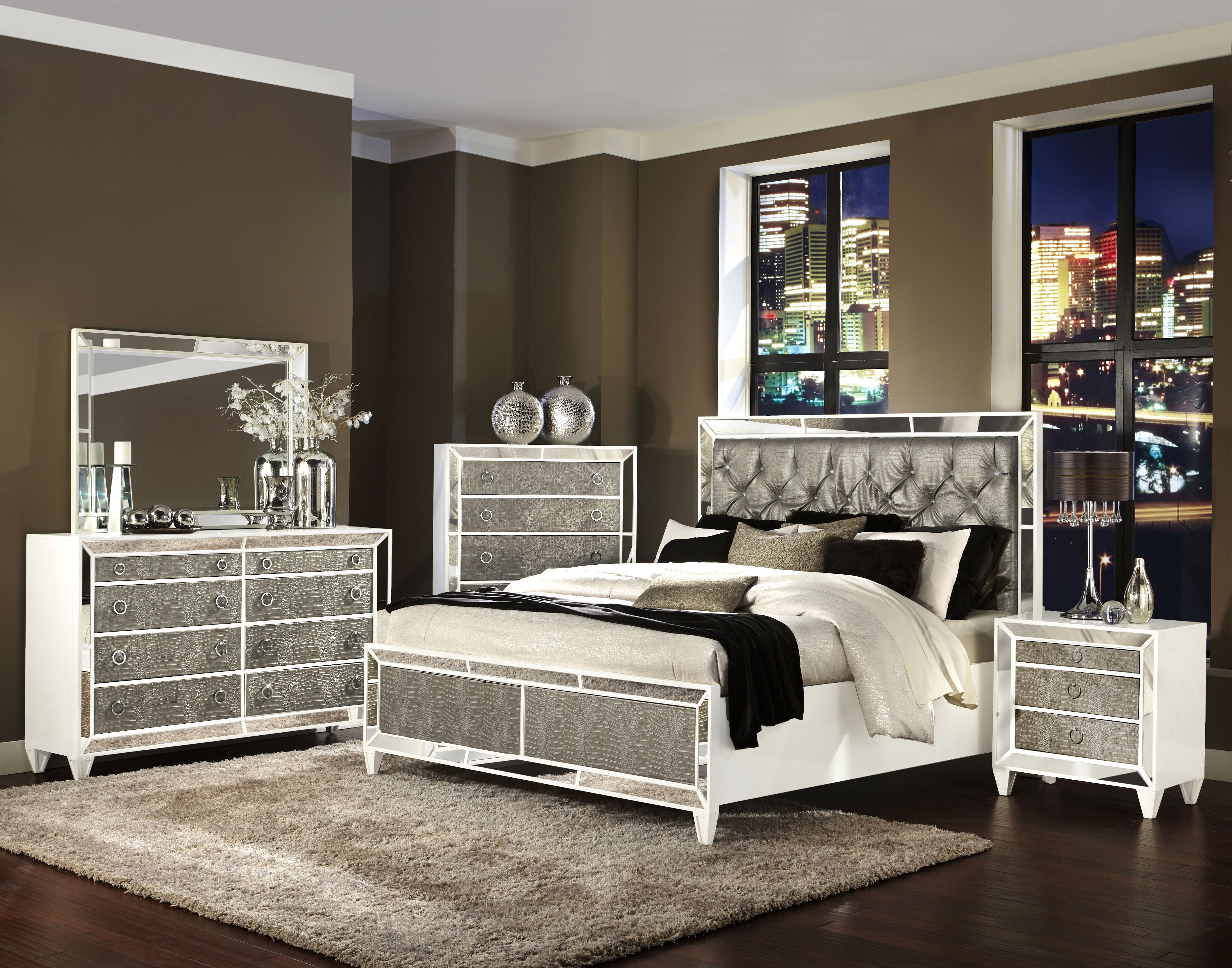 glass bedroom set monroe pearlizzed white wood glass 2pc 11698 | bc4f2bef85913b1006693dd867aeef3d