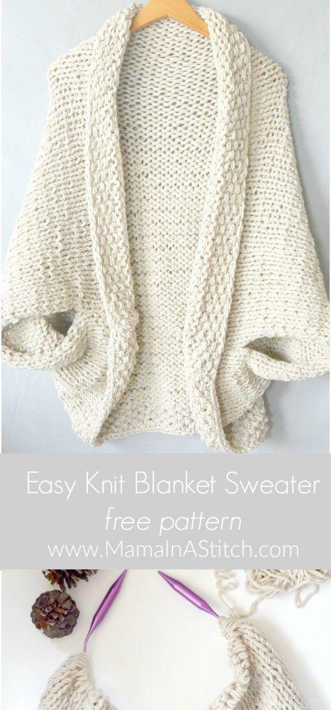 Easy Knit Blanket Sweater Pattern   Knitting   Pinterest   Ponchos ...