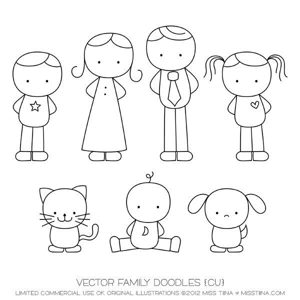 Family Doodles Digital Stamps Clipart Clip Art Illustrations   Instant  Downloadu2026