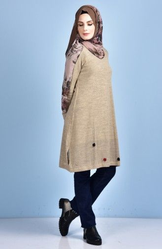 Sefamerve Cicek Detayli Triko Tunik 1126 01 Vizon Kazak Elbise Tunik Moda Stilleri