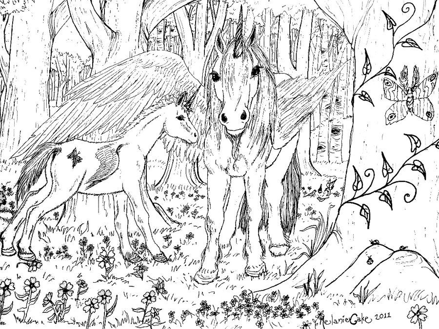 DeviantArt More Like Winged Unicorn Coloring Page By Melanie76
