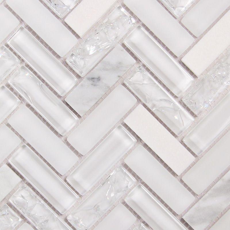 Archery White Oak Herringbone Mosaic Glass Tile Glass Backsplash