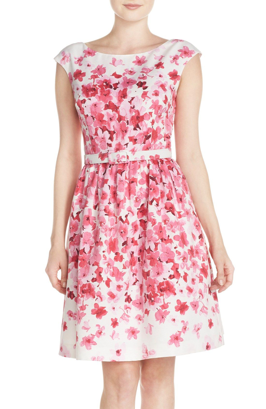 Sweet Pink Floral Faille Fit & Flare Dress   Dresses   Pinterest ...