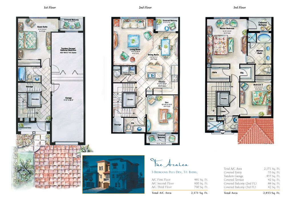 3 Story Townhouse Floor Plans Town Plans Pinterest