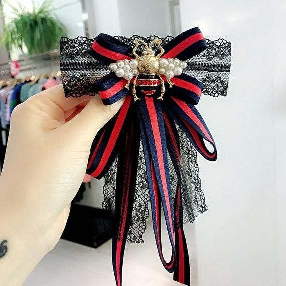 93266e34c91fad Red blue stripe gucci inspired bow brooch pin | brooch bow pins ...