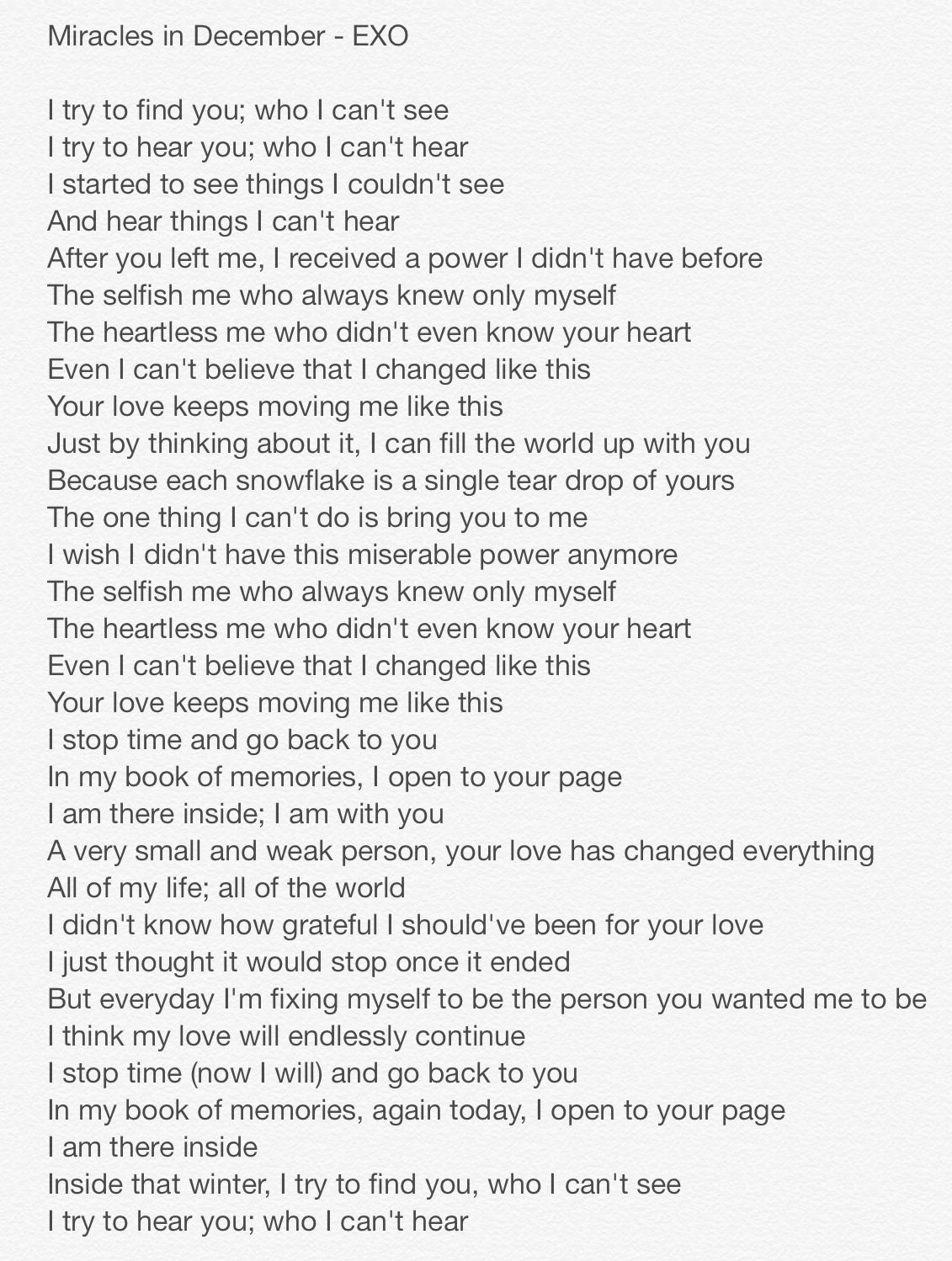 Miracles in December lyrics I'm sorry for the feels but