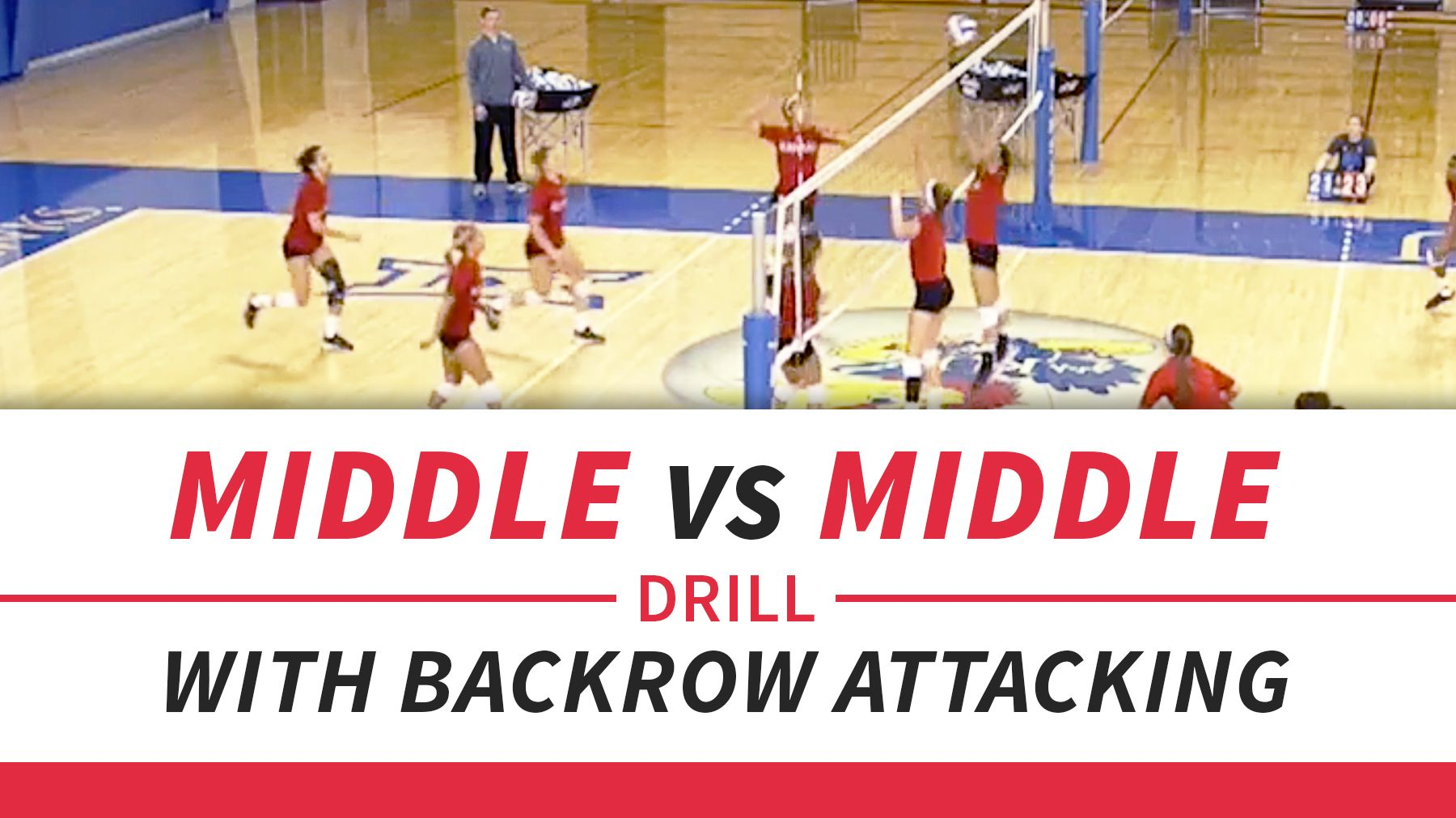 Middle Vs Middle Drill With Back Row Attacking Coaching Volleyball Volleyball Skills Volleyball Conditioning