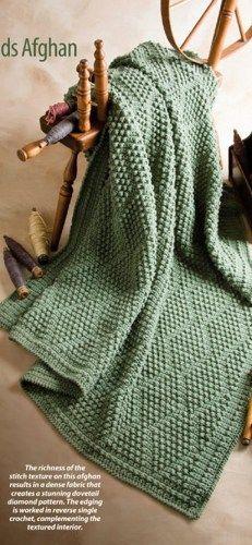 W591 Crochet Pattern Only Bobble Popcorn Stitch Diamonds Afghan