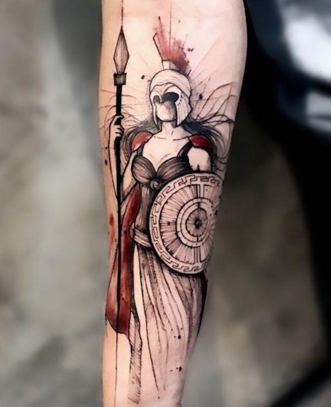 Very Lovely Female Spartan Warrior Tattoo.