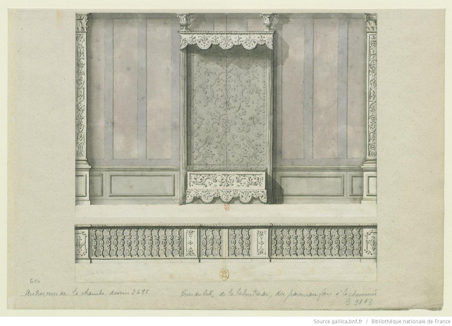 Château de Meudon, chambre du Grand Dauphin : paroi du fond ...