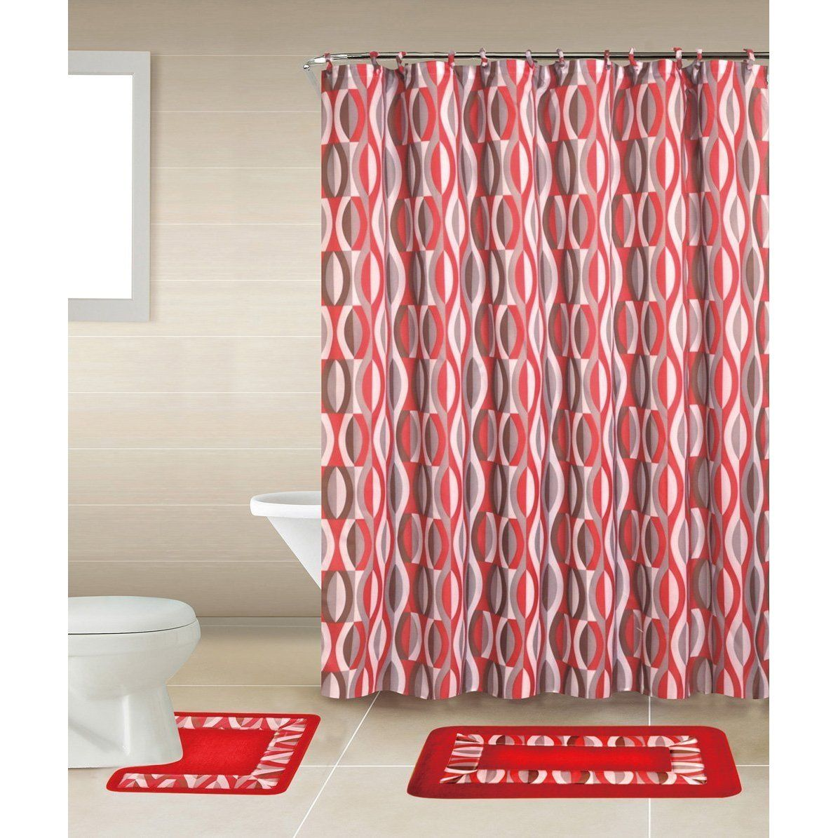 Home dynamix bath boutique shower curtain and bath rug set rugs